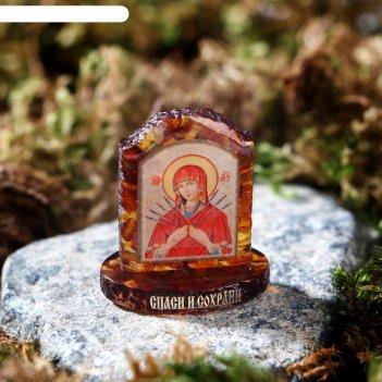 Икона из латуни и янтаря семистрельная