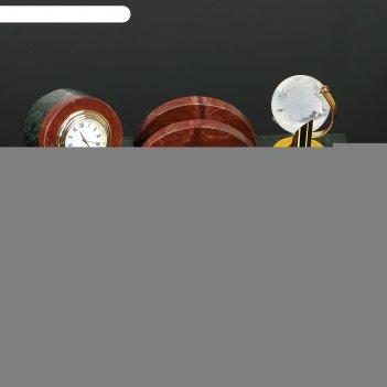 Набор настольный полукруг с часами, 25х13х10 см, змеевик, креноид