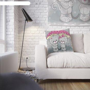 Наволочка декоративная котики под зонтом, 45 х 45 см, вшитая молния