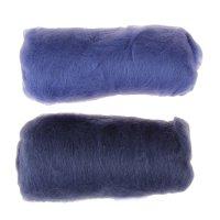 Шерсть для валяния кардочес 100% полутонкая шерсть 200гр (022 джинса)
