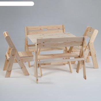 Комплект садовой мебели душевный : стол 1,2м, две скамейки, два стула(ксс-