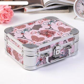 Шкатулка металлокаркас чемодан париж, велосипед, газета розовая 8,5х23х18