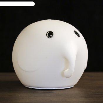 Ночник-антистресс «слонёнок», силиконовый мякиш, 4 диода, работает от 3 аа