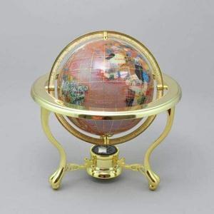 Глобус настольный каменный розовый рассвет