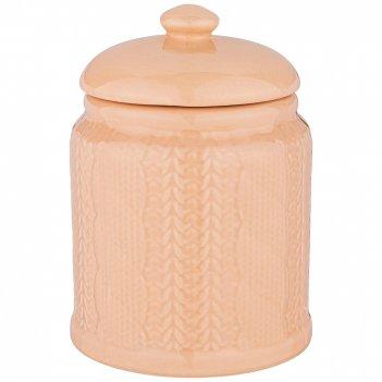 Банка для сыпучих продуктов 700 мл коллекция вязанка цвет: кремовый