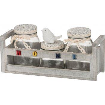 Набор банок для сыпучих продуктов из 3-х шт.home на деревянной подставке 3