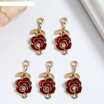 Декор для творчества металл, эмаль, страза красная роза 2,2х1,3 см