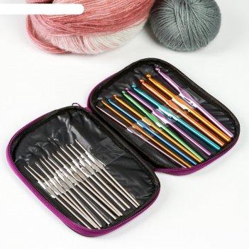 Крючки для вязания металлические, d = 0.6-6.5 мм, 13-18 см, 22 шт, цвет ми
