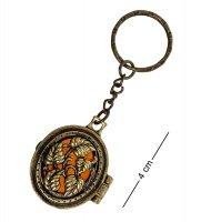 Am-1613 брелок медальон вьюнок (латунь, янтарь)