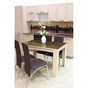 Стол бостон раскладной, 1200(1500)х800 мм, ясень коимбра/стекло капучино