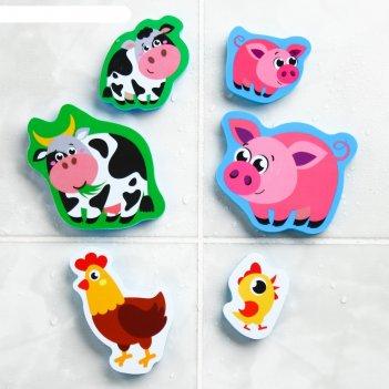 Набор игрушек для ванны «мамы и малыши»: фигурки-стикеры из eva, 6 шт.