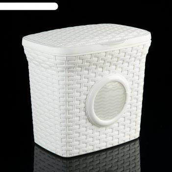 Контейнер для стирального порошка с иллюминатором 10 л ротанг, цвет белый