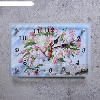 Часы настенные, серия: цветы, цветы в вазе, 20х30 см