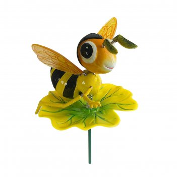 Декор садовый пчелка на листочке, штекер 60 см,