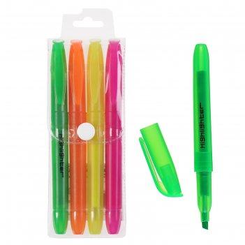 Набор маркеров-текстовыделителей, 4 цвета: зелёный, оранжевый, жёлтый, роз