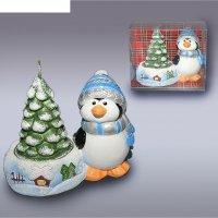 Подсвечник  пингвин с елкой м