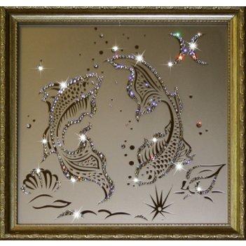 Картина сваровски - картина рыбы 35х35 см