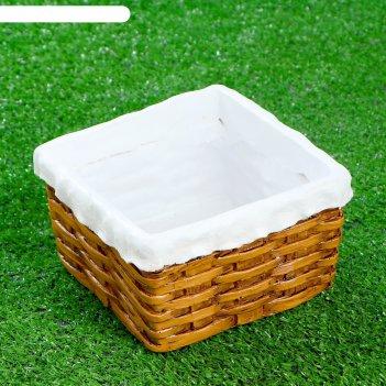 Фигурное кашпо чашка плетеная с салфеткой квадратная 17,5х17,5х10см