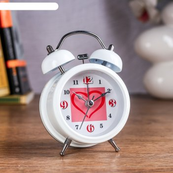 Будильник сердце в квадратике, d=8 см, микс