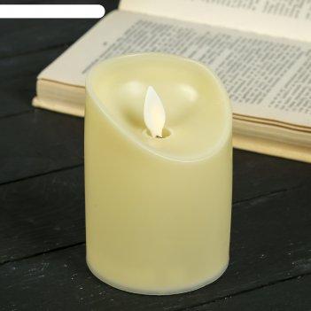 Ночник пластик большая свеча от батареек 3ааа 7,5х7,5х10 см