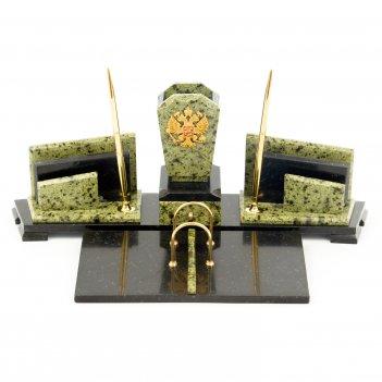 Настольный набор с гербом россии камень змеевик