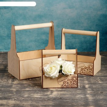 Набор кашпо деревянных подарочных мэлони элегант гравировка №4 ручка