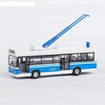 Машина металлическая инерционная троллейбус, открывающиеся двери