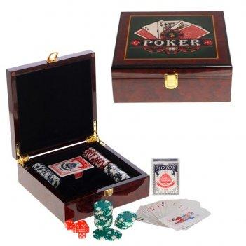 Шкатулка с игральным набором ( карты, 100 фишек, кости), l 2...