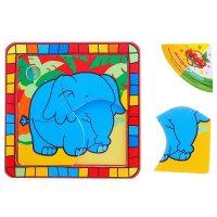 Пазл квадратный в цветной рамке слон в джунглях, 4 элемента