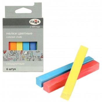Мелки для рисования, цветные 6 штук, мягкие, квадратная форма, картонная к