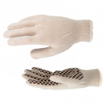 Перчатки трикотажные, пвх гель шахматный облив, оверлок россия сибртех