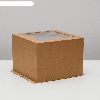 Кондитерская упаковка с окном ромб, крафт, 27 х 27 х 20 см