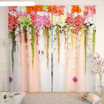 Фотошторы «цветочный верх 3», размер 145 x 260 см,  блэкаут