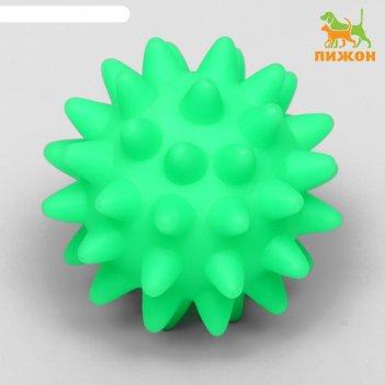 Игрушка пищащая мяч с шипами для собак, 6,5 см, зелёный