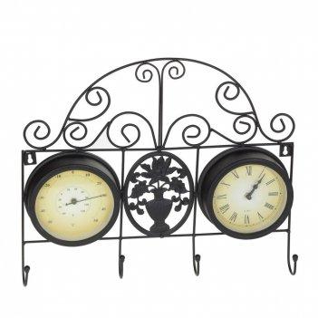 Часы с термометром настенные декоративные, l45 w6 h38 см, d15 см, (2хаа не