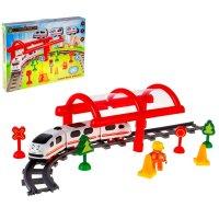 Железная дорога-конструктор, 3 вагончика, звуковой эффект, работает от бат