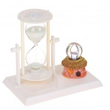 Часы сувенирные песочные серия цветы, белые, хрустальный шар, 14*13*9