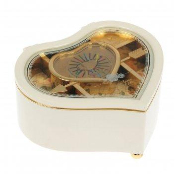 Шкатулка музыкальная механическая сердце белое 15,5х14х7,5 см