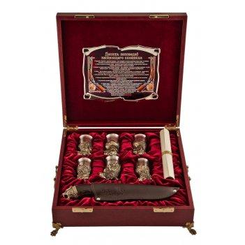 Подарочный набор охотничий в ларце с ручками, с панно, бол. арт. пно-57ш