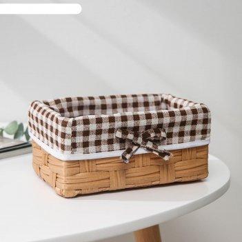 Корзина для хранения доляна «клеточка», 18x12x8 см, цвет коричневый