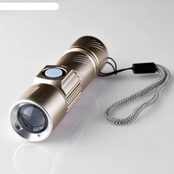 Фонарь ручной, аккумуляторный, t6, 400 ма/ч, от usb, рассеиватель, микс, 9