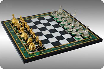 Шахматы из малахита «а-ля рус»