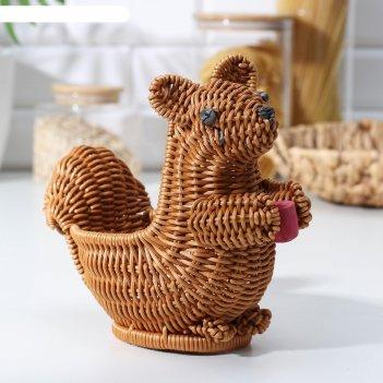Корзинка для фруктов и хлеба доляна «белочка», 21x11,5x16 см