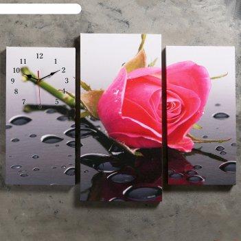 Часы настенные модульные «розовая роза», 60 x 80 см