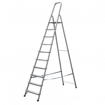 Лестница-стремянка сибин 38801-10, алюминиевая, 208 см, 10 ступеней