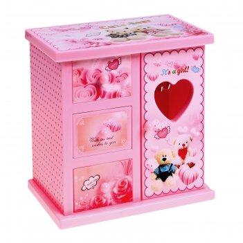 Шкатулка музыкальная розовый шкафчик с сюрпризами
