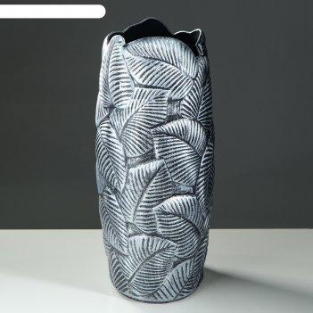 Ваза напольная лист, серебро, 66 см