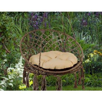 Подвесное кресло качели aruba  цвет коричневый/беж коричневый