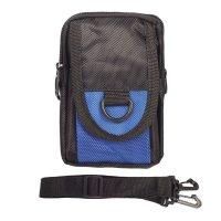 Сумка поясная, 2 отдела, наружный карман, длинный ремень, цвет чёрный/сини