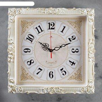 Часы настенные, серия: классика, барака, белое золото, 38х38 см